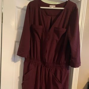 New York and Company Cargo Jumpsuit XL